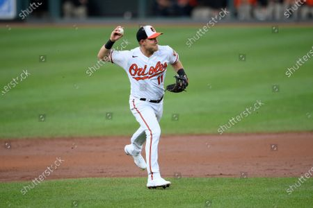 Stock Photo of Baltimore Orioles second baseman Pat Valaika (11) in action during a baseball game against the Houston Astros, in Baltimore