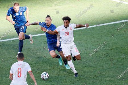 (L-R) Milan Skriniar, Marek Hamsik (SVK), Adama Traore (ESP) - Football / Soccer : UEFA Euro 2020 Group E match between Slovakia 0-5 Spain at the La Cartuja Stadium in Sevilla, Spain.