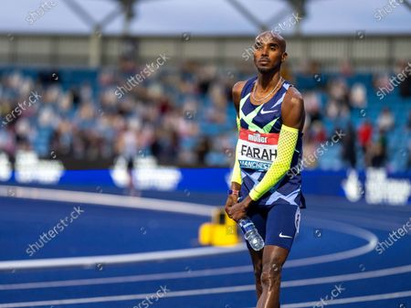 Sir Mo Farah before his last olympic attempt at the 10,000 metres race; Manchester Regional Arena, Manchester, Lancashire, England; Muller British Athletics Championships.