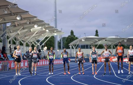 Sir Mo Farah Lines up with teammate Bashir Abdi for the last olympic attempt at the 10,000 metres race; Manchester Regional Arena, Manchester, Lancashire, England; Muller British Athletics Championships.