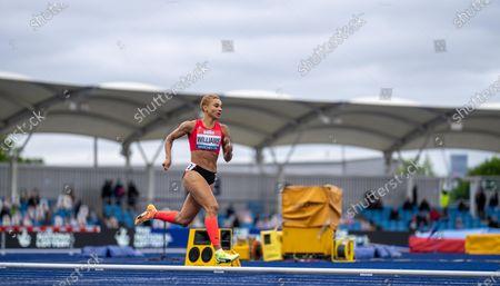 Jodie Williams through to the women's 400m finals; Manchester Regional Arena, Manchester, Lancashire, England; Muller British Athletics Championships.