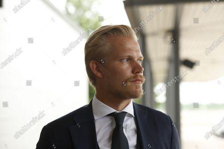 Stock Photo of Joel Pohjanpalo of Team Finland arrives from UEFA Euro 2020 football tournament to the Helsinki-Vantaa airport in Vantaa, Finland on June 24, 2021.