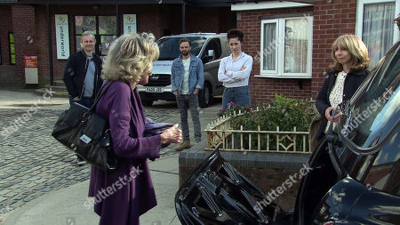 Coronation Street - Ep 10370 & Ep 10371 Tuesday 6th OR Wednesday 7th July 2021 Audrey Roberts, as played by Sue Nicholls, Nick Tilsley, as played by Ben Price, David Platt, as played by Jack P Shepherd, and Shona Platt, as played by Julia Goulding, wave Gail Rodwell, as played by Helen Worth, off as she leaves for Thailand.