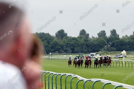 Stock Picture of Steel An Icon (5) ridden by Rose Dawes and trained by Mick Channon winning The Racing TV Extra Hands N Heels Apprentice Handicap over 1m 6f (£6,500)  at Nottingham Racecourse, Nottingham