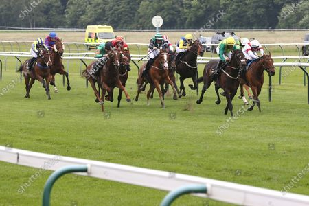 Stock Image of Steel An Icon (5) ridden by Rose Dawes and trained by Mick Channon winning The Racing TV Extra Hands N Heels Apprentice Handicap over 1m 6f (£6,500) at Nottingham Racecourse, Nottingham