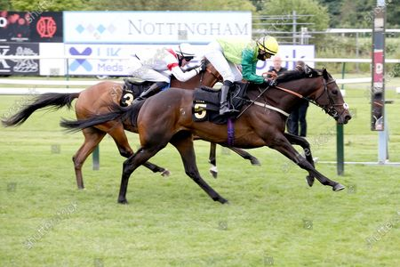 Steel An Icon (5) ridden by Rose Dawes and trained by Mick Channon winning The Racing TV Extra Hands N Heels Apprentice Handicap over 1m 6f (£6,500) at Nottingham Racecourse, Nottingham