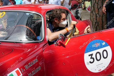 John Elkann, Chairman of Stellantis, and his wife, Lavinia Borromeo, awaits at 1000 Miles (1000 Miglia), 2021 edition. It's a stage race with historic cars.