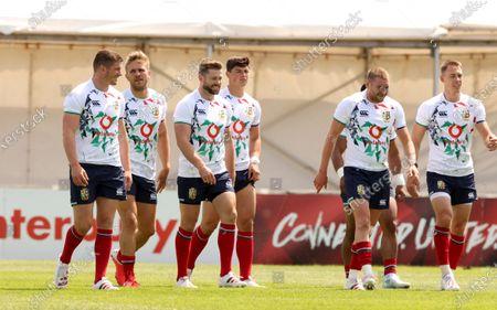 British & Irish Lions Squad Training, Jersey, United Kingdom 24/6/2021. Owen Farrell with Chris Harris, Elliot Daly, Louis Rees-Zammit, Finn Russell and Liam Williams
