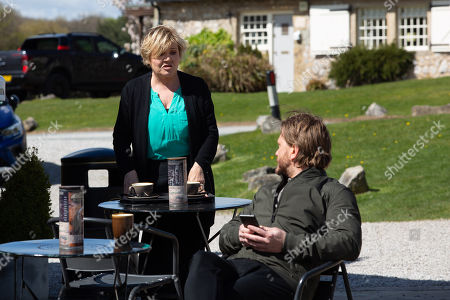 Emmerdale - Ep 9088 Thursday 1st July 2021 - 1st Ep Brenda Hope, as played by Lesley Dunlop, confides to David Metcalfe, as played by Matthew Wolfenden, and Meena she's feeling neglected by Pollard; and prepares a romantic surprise for him.