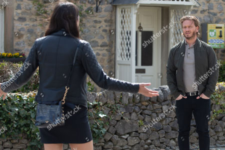 Stock Image of Emmerdale - Ep 9086 Tuesday 29th June 2021 Meena's, as played by Paige Sandhu, plan backfires when David Metcalfe, as played by Matthew Wolfenden, cancels their dinner plans telling her Jacob needs him.
