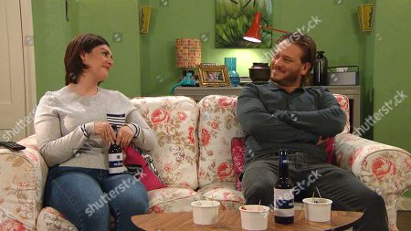 Stock Image of Emmerdale - Ep 9094 Thursday 8th July 2021 - 1st Ep The sparks are starting to fly between them as David Metcalfe, as played by Matthew Wolfenden, and Victoria Sugden, as played by Isabel Hodgins, enjoy each other's company. Later, caught up in their moment, David leans forward and kisses Victoria.