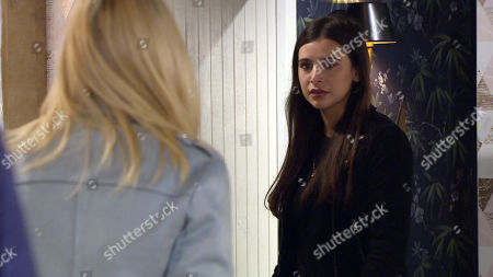 Emmerdale - Ep 9092 & Ep 9093 TBC - Tuesday 6th July 2021 OR Wednesday 7th July Leanna Cavanagh, as played by Mimi Slinger, is in her bedroom and is creeped out when Meena, as played by Paige Sandhu, enters and asks for the rucksack.