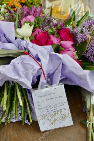 Stock Photo of More floral tributes have been left in the bandstand for the victims of the terrorist attack at Forbury Gardens in Reading. At a memorial service held on Sunday in the gardens where the attacks took place, friends, family members and officials honoured James Furlong, Joe Ritchie-Bennett and David Wails. The three friends were killed a year ago by 26-year-old Khairi Saadallah, from Libya. Saadallah also injured three others, Stephen Young, 51, Patrick Edwards, 29, and Nishit Nisudan, 34, who he attacked with an eight-inch knife.