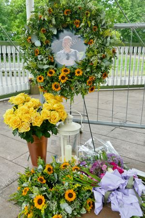 Editorial image of More tributes are left for the victims of the Forbury Gardens terror attacks last year, Reading, Berkshire, UK - 24 Jun 2021