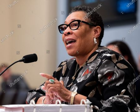 Stock Image of U.S. Secretary of Housing and Urban Development Marcia Fudge speaking at a hearing of the House Budget Committee.