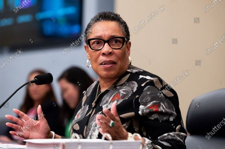 Stock Picture of U.S. Secretary of Housing and Urban Development Marcia Fudge speaking at a hearing of the House Budget Committee.