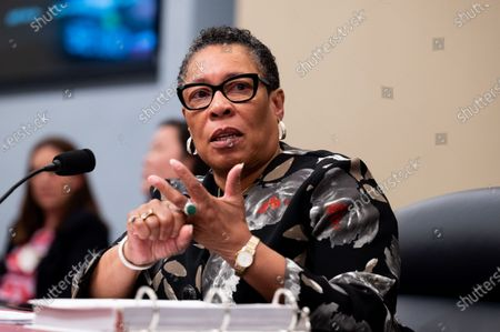 Stock Photo of U.S. Secretary of Housing and Urban Development Marcia Fudge speaking at a hearing of the House Budget Committee.