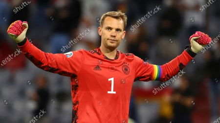 Germany's goalkeeper Manuel Neuer reacts after the Euro 2020 soccer championship group F match between Germany and Hungary in Munich