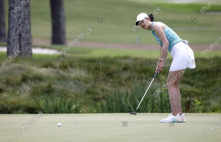 Michelle Wie West of the US putts on the seventeenth hole during the first round of the 2021 KPMG Women's PGA Championship golf tournament at the Atlanta Athletic Club in Johns Creek, Georgia, USA, 24 June 2021.