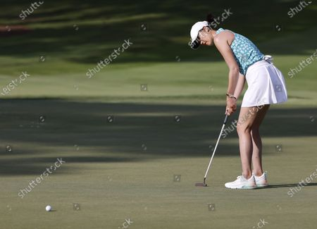 Michelle Wie West of the US on the ninth hole during the first round of the 2021 KPMG Women's PGA Championship golf tournament at the Atlanta Athletic Club in Johns Creek, Georgia, USA, 24 June 2021.