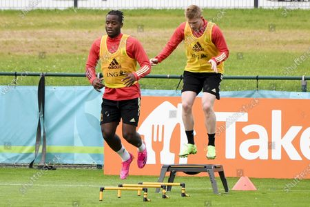 Training and media activities of the Belgian Red Devils football team in advance of their upcoming match against Portugal in the UEFA Euro 2020 competition. Michy Batshuayi and Kevin De Bruyne