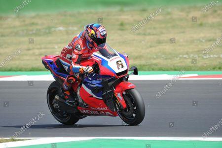 Stefan Bradl of Germany and Repsol Honda Team during MotoGP tests in Misano World Circuit on June 24, 2021.