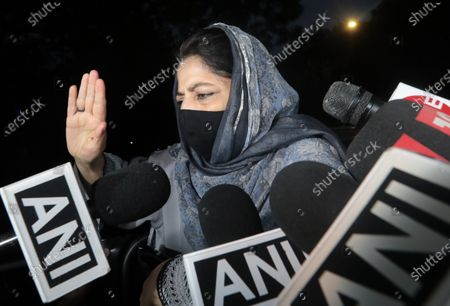 Stock Picture of Peoples Democratic Party (PDP) President Mehbooba Mufti speaks with media after attending a Jammu and Kashmir leaders meeting with Indian Prime Minister Narendra Modi, in New Delhi, India, 24 June 2021. Indian Prime minister Narendra Modi held a high profile meeting with politicians from Kashmir for the first time since the stripping of special status and bifurcation into two union territories of the Jammu and Kashmir state in 2019.