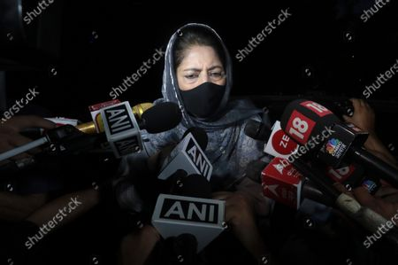 Peoples Democratic Party (PDP) President Mehbooba Mufti speaks with media after attending a Jammu and Kashmir leaders meeting with Indian Prime Minister Narendra Modi, in New Delhi, India, 24 June 2021. Indian Prime minister Narendra Modi held a high profile meeting with politicians from Kashmir for the first time since the stripping of special status and bifurcation into two union territories of the Jammu and Kashmir state in 2019.