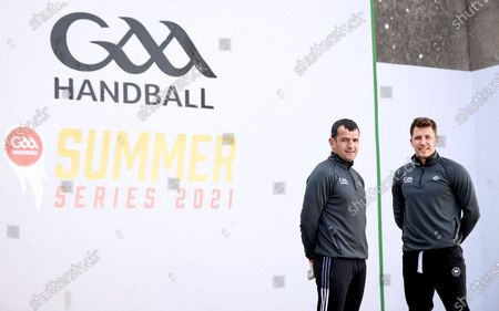 """Pictured is Former Donegal All-Star Frank McGlynn (Left) and Current Donegal Football player Paul Brennan (Right) GAA Handball officially launched their """"Summer Series 2021"""" Initiative at the outdoor Ballyshannon Handball Alley. The initiative aims to increase the visibility of Handball in Ireland again through outdoor play. Special guests included former Donegal All-Ireland winning All-Star Frank McGlynn, and current Donegal Senior star Paul Brennan."""