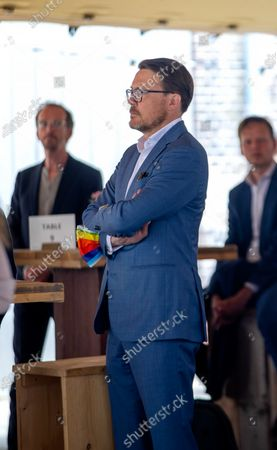 Prince Constantijn during a visit to the Open Studios of the Rijksademie van Beeldende Kunsten in Amsterdam on the occasion of the 150th anniversary of the institute.