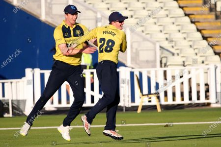 2ND DERBY WICKET Derbyshire Falcons Luis Reece BRILLIANT CATCH FROM Birmingham Bears Ed Pollock BOWLED Birmingham Bears Tim Bresnan during the Vitality T20 Blast North Group match between Warwickshire County Cricket Club and Derbyshire County Cricket Club at Edgbaston, Birmingham