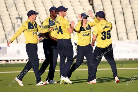 Stock Picture of 2ND DERBY WICKET Derbyshire Falcons Luis Reece BRILLIANT CATCH FROM Birmingham Bears Ed Pollock BOWLED Birmingham Bears Tim Bresnan during the Vitality T20 Blast North Group match between Warwickshire County Cricket Club and Derbyshire County Cricket Club at Edgbaston, Birmingham