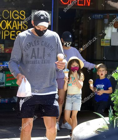 Editorial image of Exclusive - Ashton Kutcher and Mila Kunis take their Kids to get Ice Cream on a Hot Day in Los Angeles, USA - 24 Jun 2021