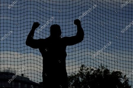 Stock Photo of Brian Williams celebrates during the prelims of men's discus throw at the U.S. Olympic Track and Field Trials, in Eugene, Ore