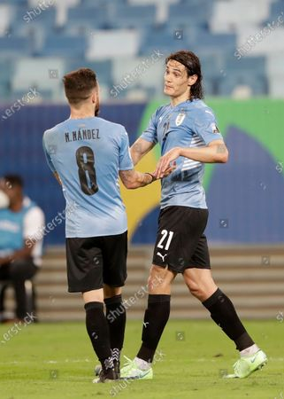 Stock Image of Uruguay's Edinson Cavani, right, celebrates scoring his team's second goal against Bolivia with his teammate Nahitan Nandez during a Copa America soccer match at Arena Pantanal in Cuiaba, Brazil