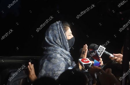 """Stock Image of Former Chief Minister of J&K and PDP leader Mehbooba Mufti speaks to the media upon her arrival at JK House after meeting of Prime Minister Narendra Modi with the leaders of Jammu and Kashmir on June 24, 2021 in New Delhi, India. This is the first high level interaction to be held between the central government and Kashmir's political leadership since 2019, when the former scrapped Article 370 and 35A, which gave special status to J-K and its people. Aftter around three-hour-long talks with Jammu and Kashmir political leaders, Prime Minister Narendra Modi said delimitation has to happen at quick pace so that polls can happen. """"Our priority is to strengthen grassroots democracy in J&K. Delimitation has to happen at a quick pace so that polls can happen and J&K gets an elected Government that gives strength to J&K's development trajectory,"""" PM Modi said in a tweet."""