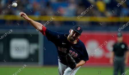 Boston Red Sox relief pitcher Matt Barnes during the ninth inning of a baseball game against the Tampa Bay Rays, in St. Petersburg, Fla