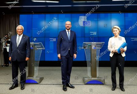 Stock Image of European Commission President Ursula von der Leyen, European Council President Charles Michel and Portugal's Prime Minister Antonio Costa, from right, pose for a photo during a news conference at the end of an EU summit at the European Council building in Brussels, . EU leaders discussed the economic challenges the bloc faces due to coronavirus restrictions and will review progress on their banking union and capital markets union