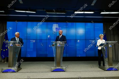 Stock Picture of European Commission President Ursula von der Leyen, European Council President Charles Michel and Portugal's Prime Minister Antonio Costa, from right, arrive to a joint news conference at the end of an EU summit at the European Council building in Brussels, . EU leaders discussed the economic challenges the bloc faces due to coronavirus restrictions and will review progress on their banking union and capital markets union