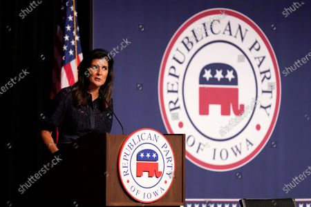 Former Ambassador to the United Nations Nikki Haley speaks during the Iowa Republican Party's Lincoln Dinner, in West Des Moines, Iowa