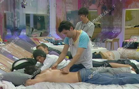 Marion Mugan massages Dave Vaughan