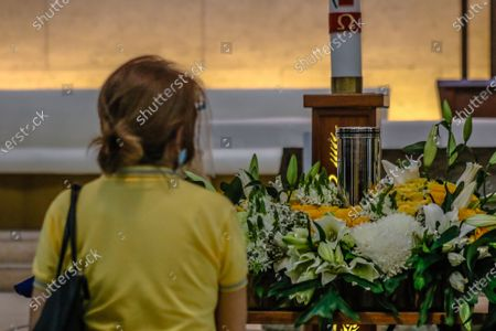 """Ashes of Former Philippine President Benigno """"Noynoy"""" Aquino III are brought to Ateneo De Manila University in Quezon City, Philippines for public viewing on June 25, 2021. Former President Benigno Aquino III publicly known as PNoy, peacefully died last Thursday morning, June 24, 2021 at the age of 61 because of Renal Disease."""