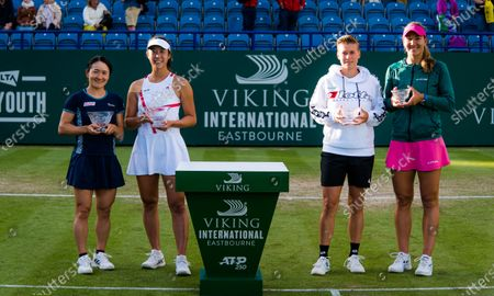 Shuko Aoyama & Ena Shibahara of Japan and Demi Schuurs of the Netherlands & Nicole Melichar of the United States after the doubles final of the 2021 Viking International WTA 500 tennis tournament