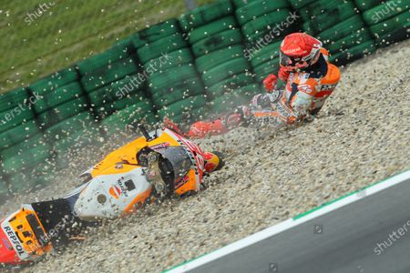 TT CIRCUIT ASSEN, NETHERLANDS - JUNE 25: Marc Marquez, Repsol Honda Team crash during the Dutch GP at TT Circuit Assen on Friday June 25, 2021 in ASSEN, Netherlands. (Photo by Gold and Goose / LAT Images)