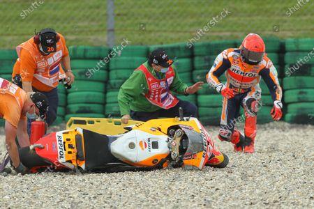 TT CIRCUIT ASSEN, NETHERLANDS - JUNE 25: Marc Marquez, Repsol Honda Team crash during the Dutch GP at TT Circuit Assen on Friday June 25, 2021 in ASSEN, Netherlands.