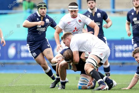 England vs Scotland. England's Jack Clement is tackled by Ben Muncaster of Scotland