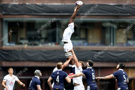 England vs Scotland. England's Jack Clement in a line-out