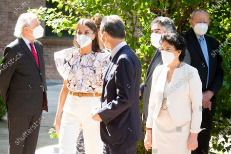 HRH Queen of Spain Queen Letizia Rocasolano presides the meeting of the board of trustees of the student residence (Reunion del patronato de la Residencia de Estudiantes) with the Science Minister of Spain the former astronaut Pedro Duque, Education Minister Isabel Celaa and Culture Minister Jose Manuel Rodriguez Uribes at the Student Residence in Madrid on June 25, 2021.