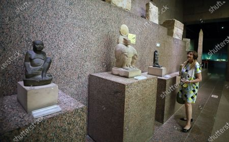 Macha Meril visits the Nubia Museum in Aswan, southern Egypt, 25 June 2021. Meril is visiting Aswan to participate in the Aswan International Women Film Festival, running from24 to 28 June.