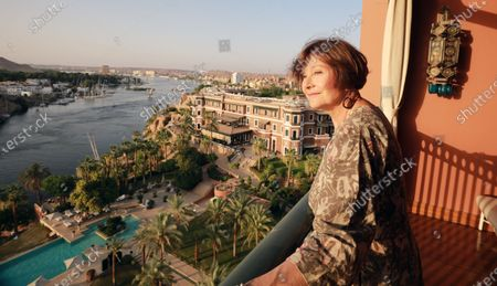 Macha Meril  tours inside the Old Cataract hotel in Aswan, south Egypt, 25 June 2021. Macha Meril  is visiting Aswan to participate in the Aswan International Women Film Festival running from 24 to 28 June 2021.